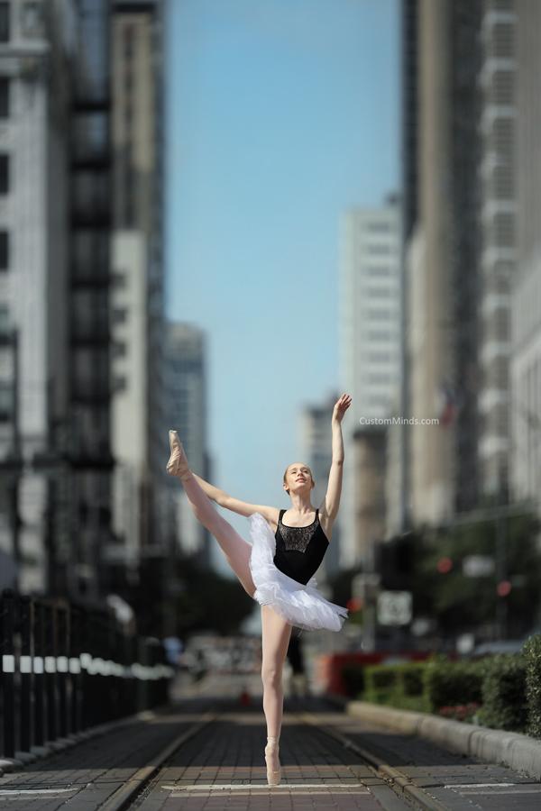 Houston Ballerina poses by Metro Rail in downtown Houston
