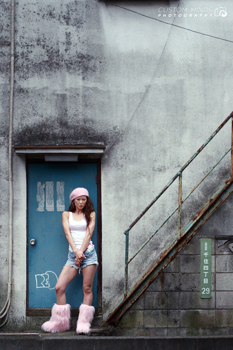 industrial background with japanese model in tokyo