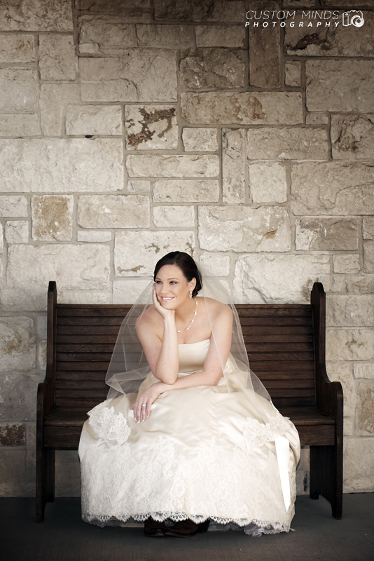 Bride waiting at Briscoe Manor in Richmond Texas