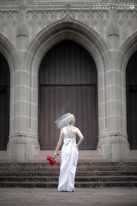 Bride enters St. Paul's United Methodist Church in Houston Texas