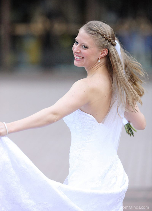 Bride twirling around at the Wortham Center in Houston Texas