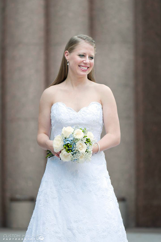 Bride with bouquet at the Houston Grand Opera