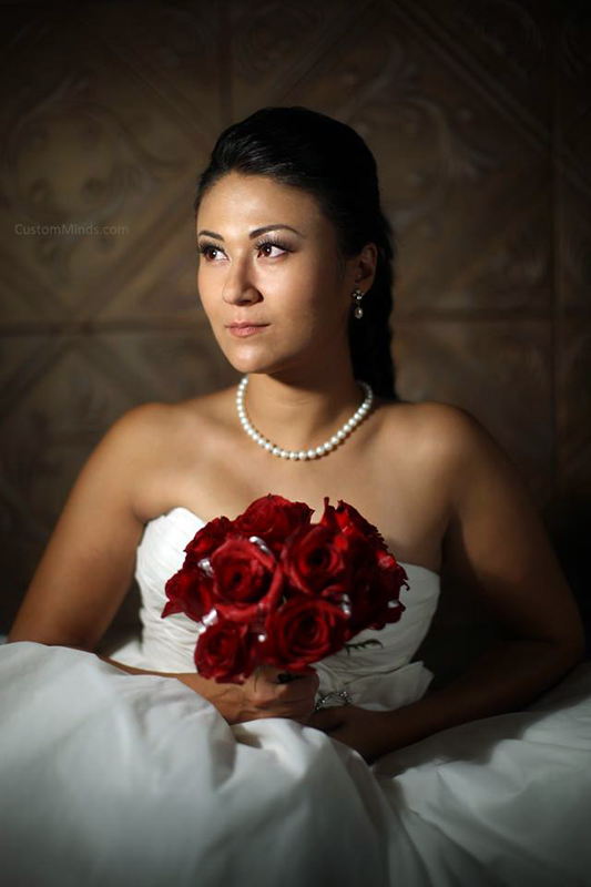 Bride with roses in our Houston Photography Studio