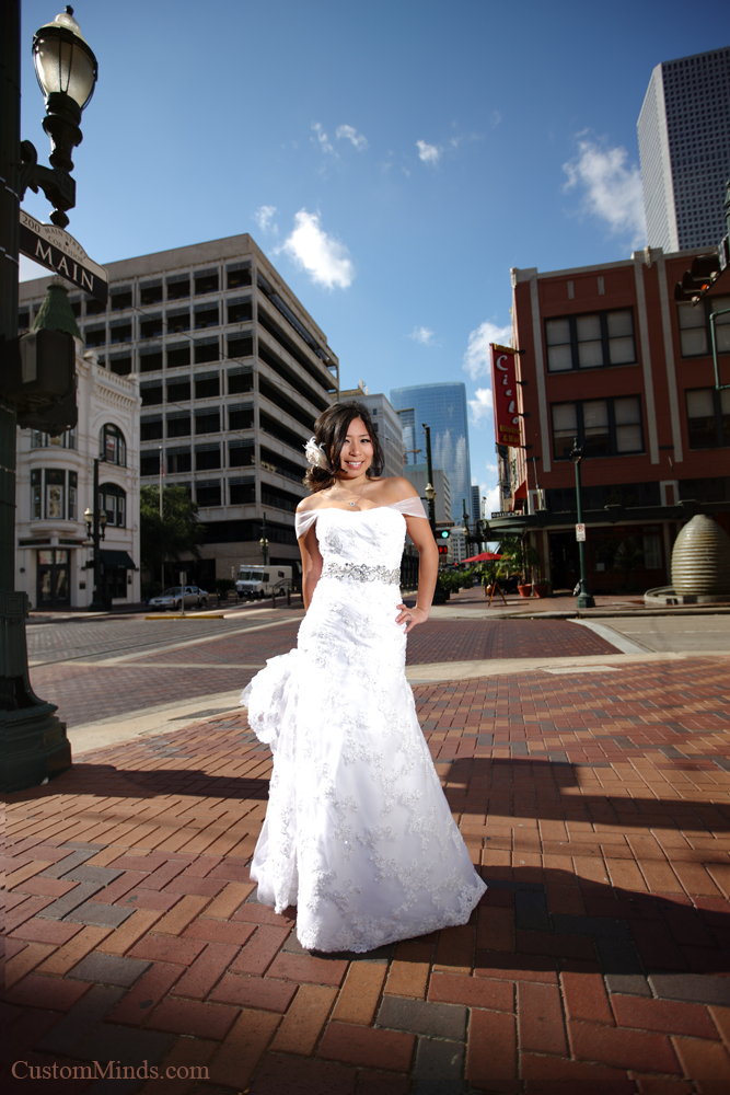 Smiling bride in downtown Houston Texas