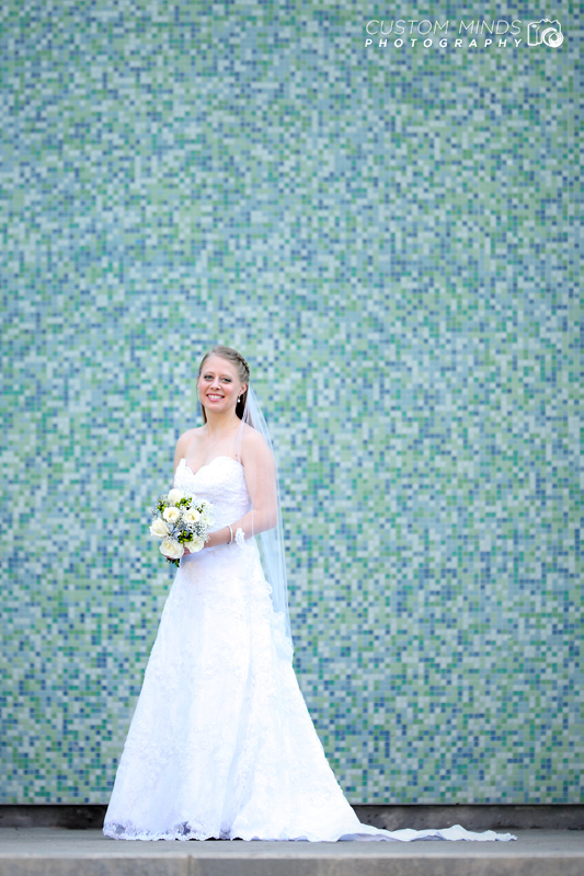 Bridal portrait across the street from Jones Hall and the Wortham Center
