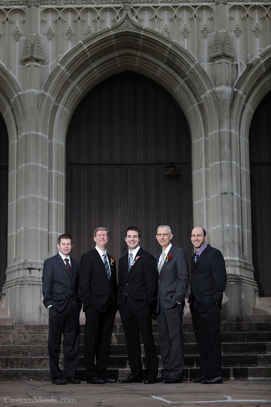 Groom and groomsmen in front of  St. Paul's United Methodist Church in Houston Texas
