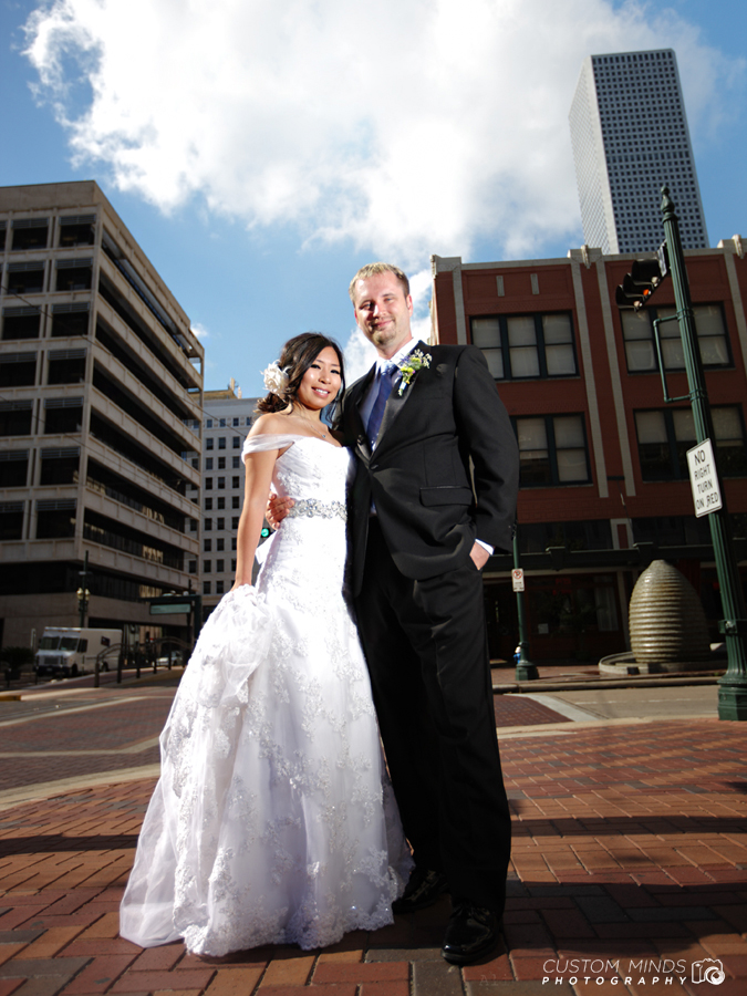 Bride and Groom walking around Downtown Houston