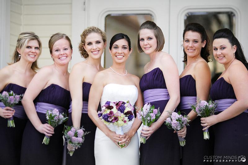 Posing Bride and Bridesmaids in Austin Texas