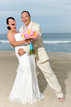 Happy Bride and Groom on the beach in Cabo San Lucas, Mexico