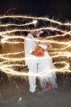 Fun light effect around the Bride and Groom