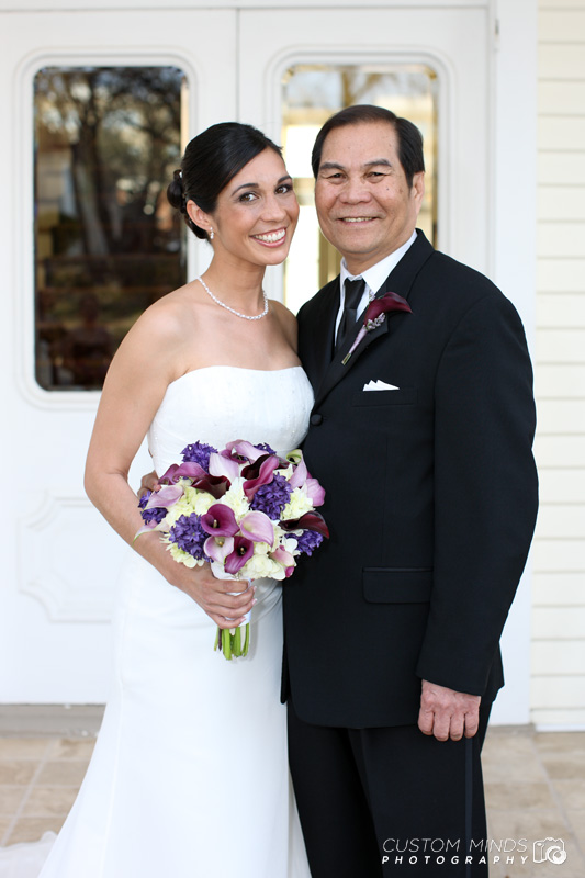 Father of the bride and his daughter smiling at the Allan House in Austin Texas