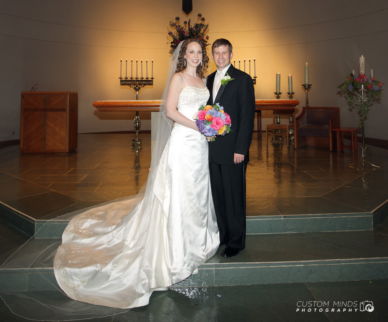 Bride and Groom at St. Cecilia Catholic Church near Memorial High School
