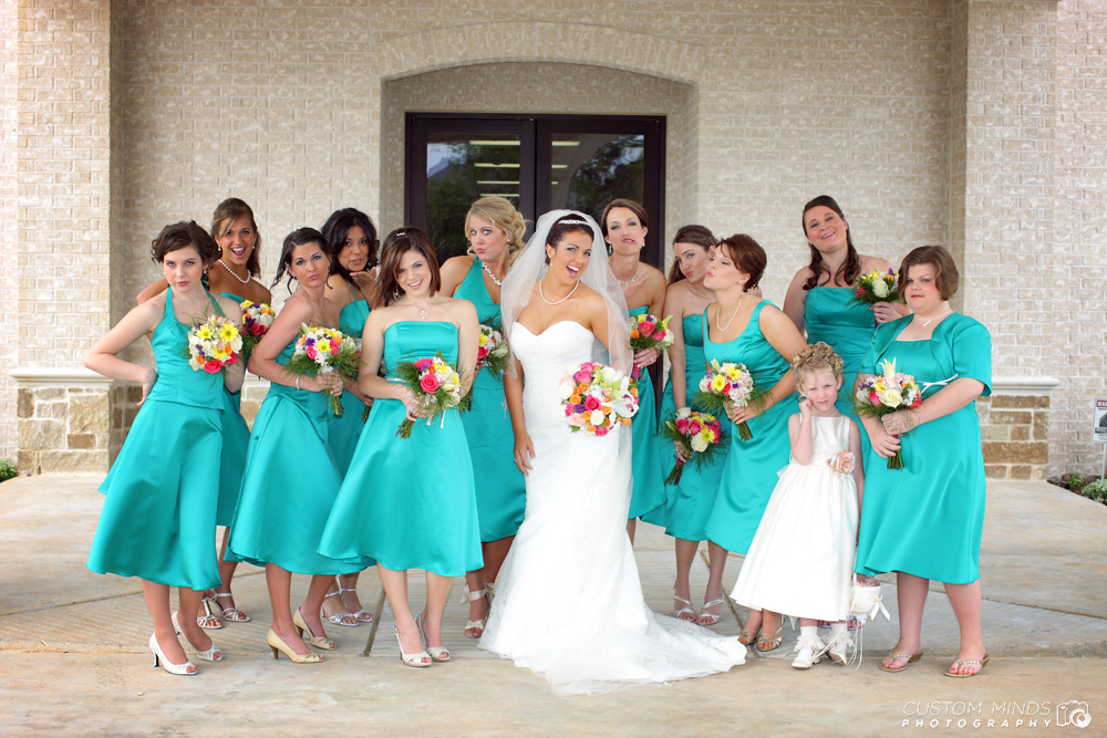 Bridal Party at a Church in the Woodlands Texas