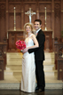 Bride and Groom pose at the First United Methodist Church in Austin