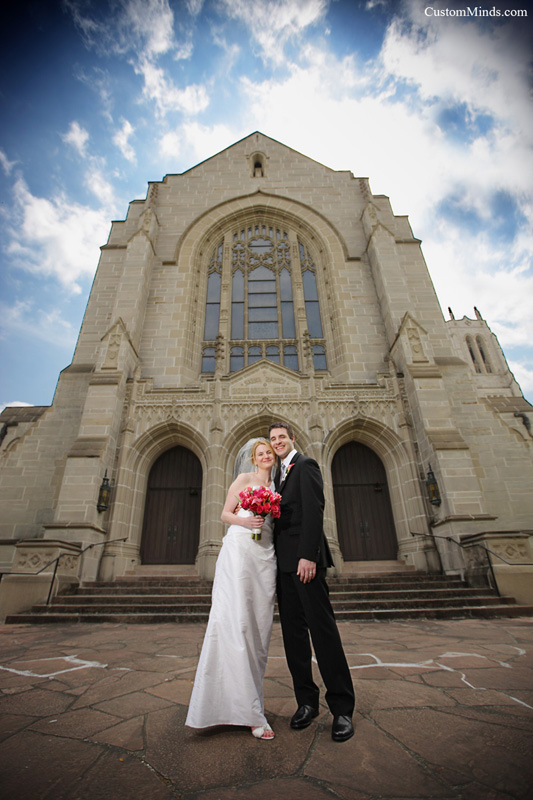 Bride and Groom outside chapel near downtown Houston Texas