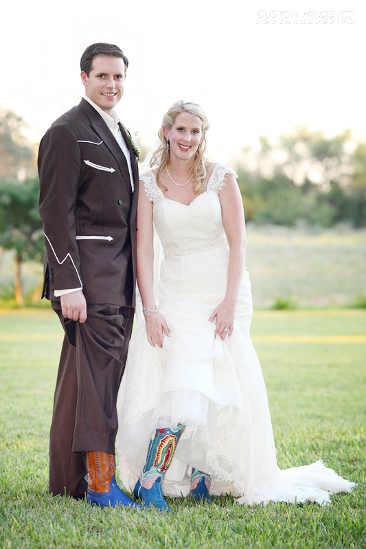 Bride and Groom show off their awesome boots after the ceremony