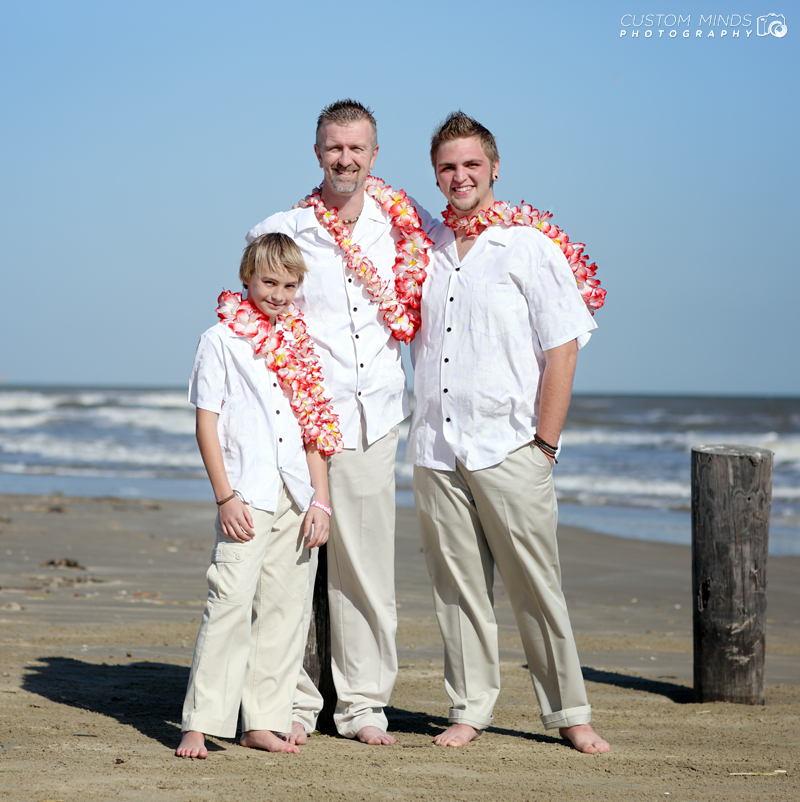 Groom and his sons at a beach wedding in Galveston