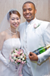 Bride and Groom with champagne and a bouquet in Las Vegas