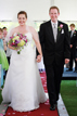 Bride and Groom in Navasota walking down the aisle