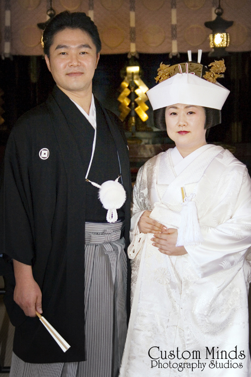 Bride and Groom married in Tokyo Japan at the famous Asakusa Shrine