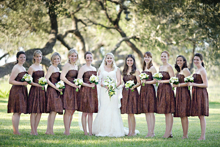 Bridal party posing near Corpus Christi Texas
