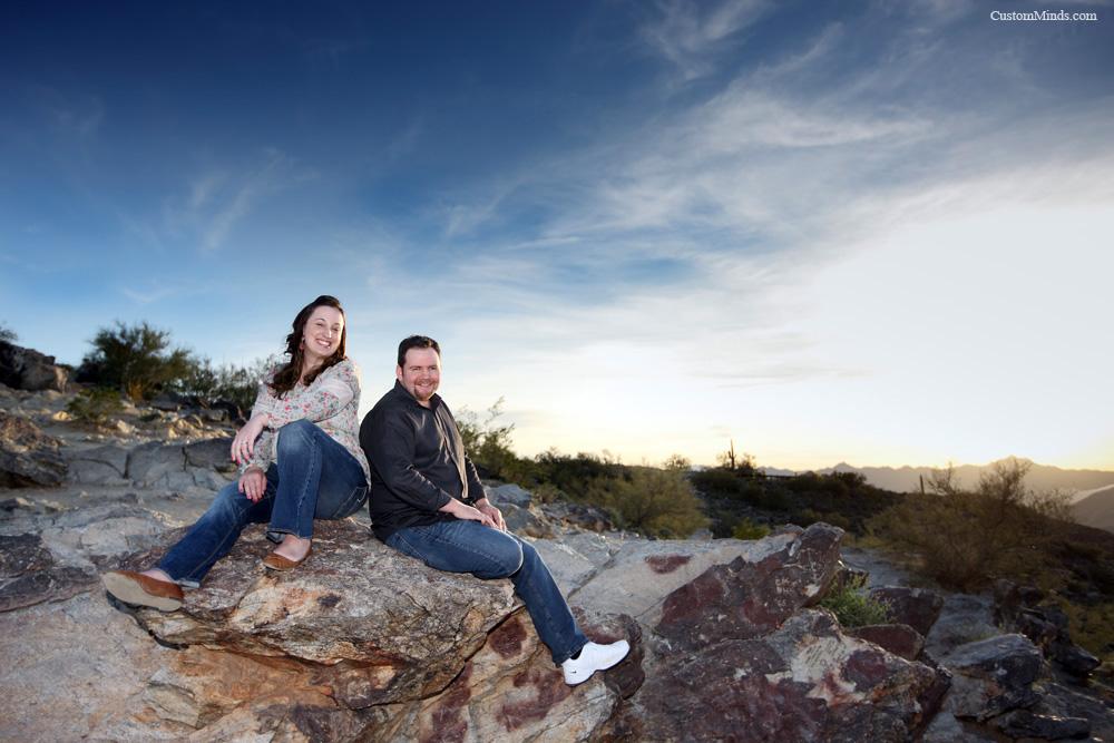 Sitting on rocks during a Pheonix Arizona engagement session