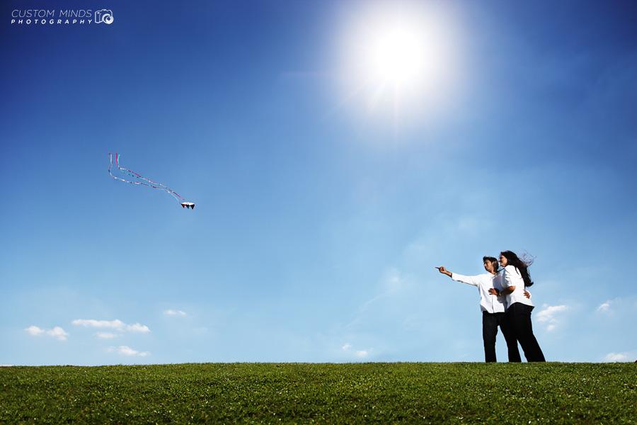 Flying kites at Hermann Park engagement session