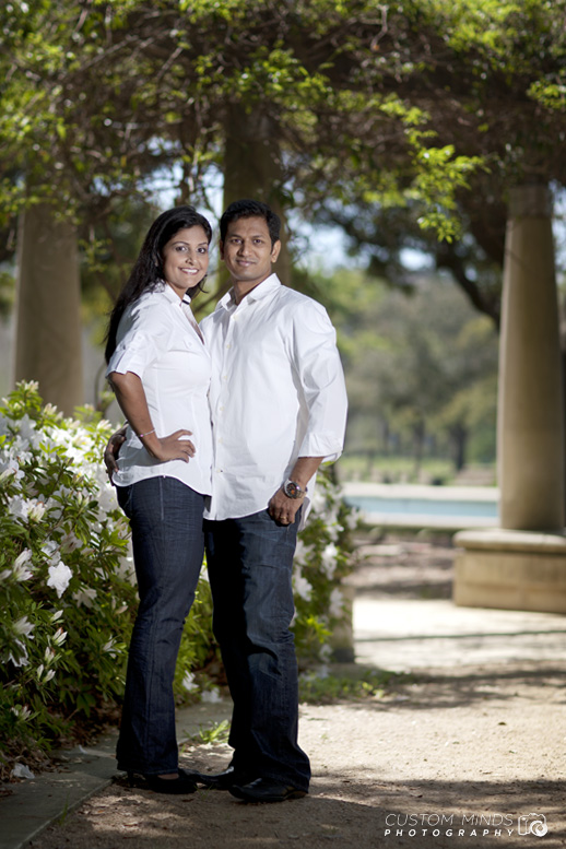 Couple posing during a Hermann Park engagement session