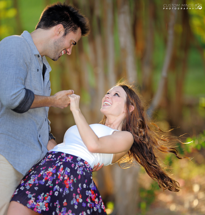 Having a great time at Memorial Park during an engagement session