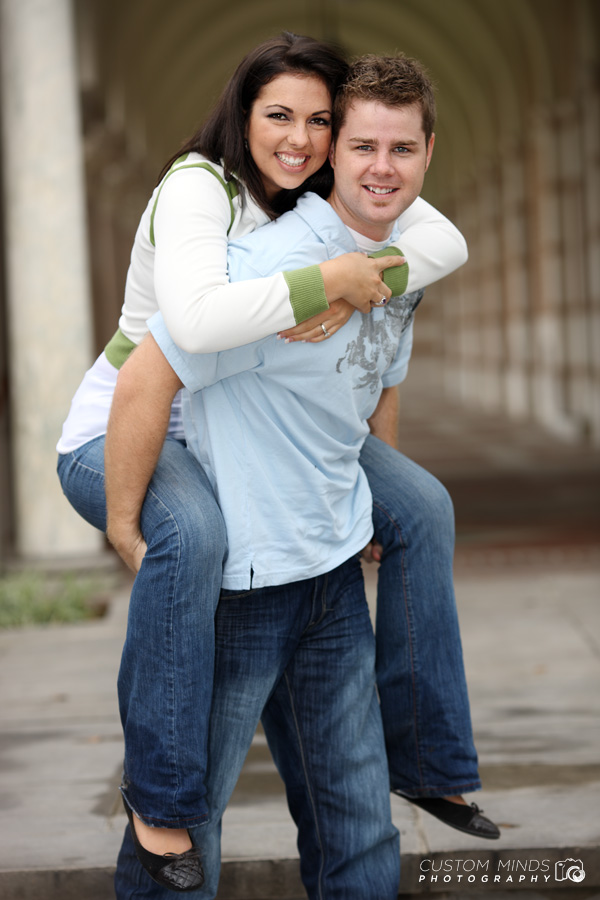 Piggy-back ride at Rice University engagement session