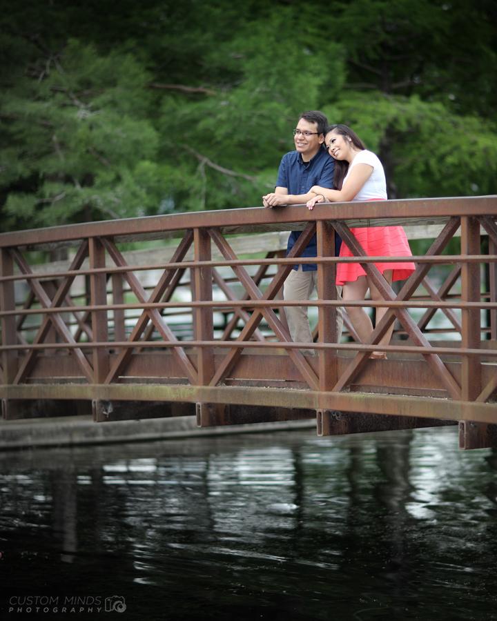 Hermann Park engagement session on the bridge