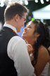 Bride and Groom dancing in their outdoor wedding reception in Houston Texas
