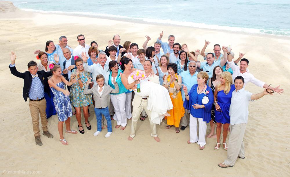 Beach wedding party in Cabo San Lucas Mexico