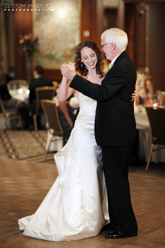 Father and Daughter dance at the wedding reception at the Houstonian in Houston Texas