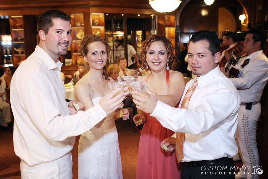 Bride and Groom toasting family during their River Oaks Wedding