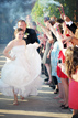 Grand exit with Bride and Groom and sparklers during their Spring Texas Wedding