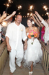 Grand exit with Bride and Groom during their Galveston Texas Wedding