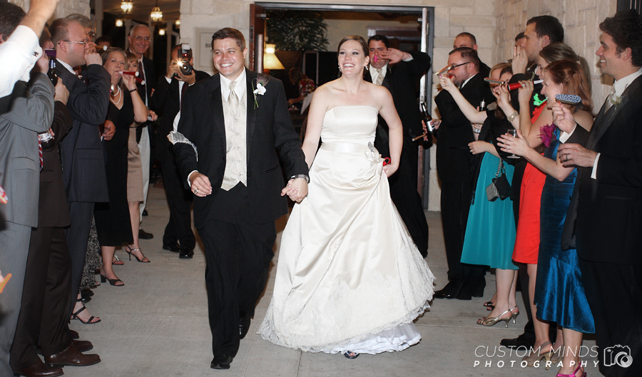 Grand exit with the Bride and Groom at Briscoe Manor in richmond Texas