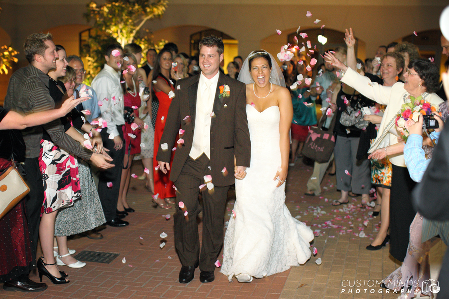 Grand exit of the Bride and Groom from a church in the Woodlands Texas