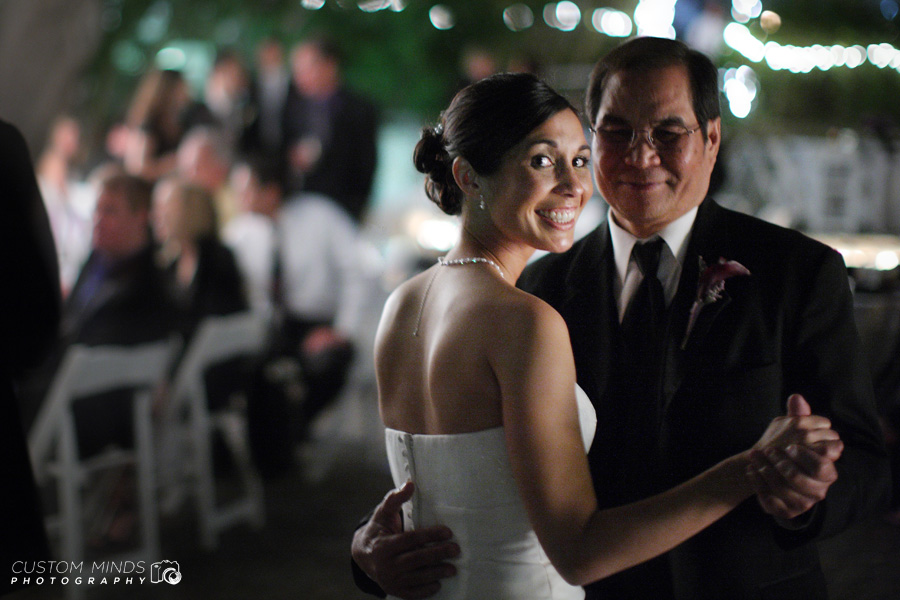 Father of the Bride smiles during his first dance in Austin Texas