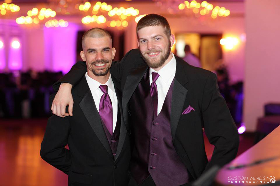 Groomsmen posing at the Sterling Banquet Hall in Houston Texas